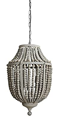 Creative Co-Op DA6697 Garden Grey Wood Bead & Metal Chandelier