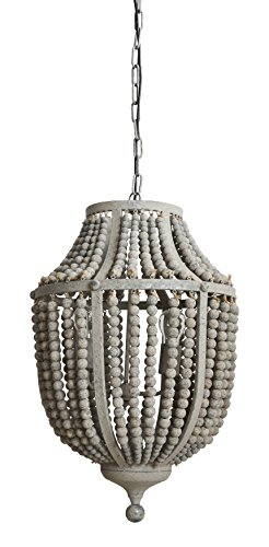 Creative co op da6697 garden grey wood bead metal chandelier aloadofball Images