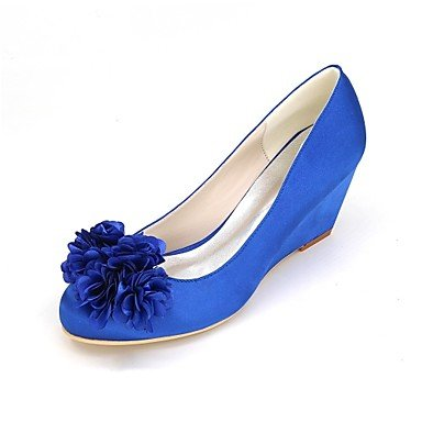 Champagne Heel Party Ivory Shoes red Wedge Women's Applique Wedding Best Shoes Purple Summer Satin for 4U Spring Evening Blue Basic Red Pump Wedding APTBzUv