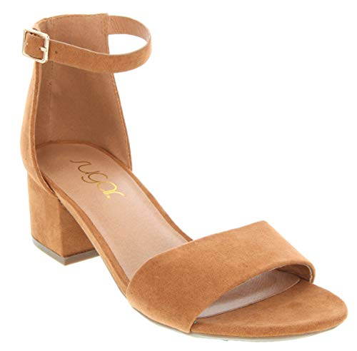 Low Two Piece Block Heel Dress Shoe Ladies Ankle Strap Pump Sandal Cognac 7 ()