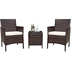 Flamaker 3 Pieces Patio Furniture Set Modern Outdoor Furniture Sets Clearance Cushioned PE Wicker Bistro Set Rattan Chair Conversation Sets with Coffee Table (Brown Wicker)