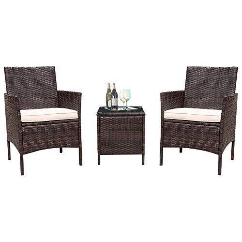 Flamaker 3 Pieces Patio Furniture Set Modern Outdoor Furniture Sets Clearance Cushioned PE Wicker Bistro Set Rattan Chair Conversation Sets with Coffee Table (Brown Wicker) For Sale
