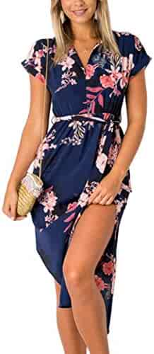 9792a1c3e9f8 ECOWISH Womens Dresses Summer Casual V-Neck Floral Print Geometric Pattern  Belted Dress