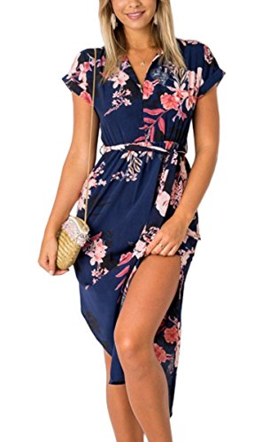 ECOWISH Womens Dresses Summer Casual V-Neck Floral Print Geometric Pattern Belted Dress Blue S