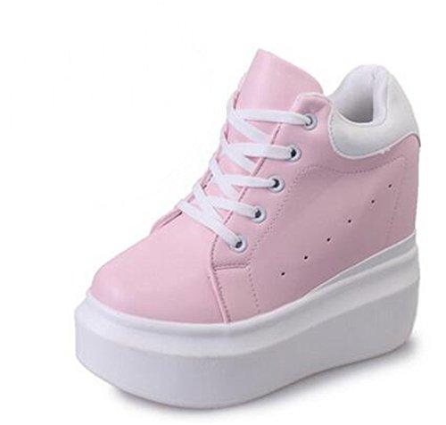 Feilongzaitianba Women Pumps 12Cm Women'S Fashion High Heels Lace-Up Casual Shoes Ladies Wedges White Pink Common Style 85