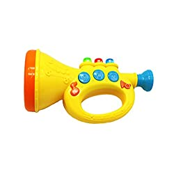 Ver-Baby Childrens Kids Musical Instrument Toy Trumpet Plays Melodies, Animal Sounds with Flashing Light-ups