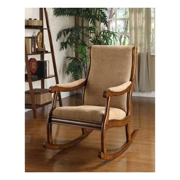 Add Leisurely Comfort To Your Living Room Or Den With This Comfy Antique  Oak Rocking Chair. Wood Rocking Chair Comes With Fabric Upholstery.