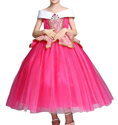 Cromoncent Girl Costume Ruffled Off-Shoulder Halloween Princess Swing Party Dress Rose Red 4T -
