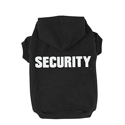 (BINGPET BA1002-1 Security Patterns Printed Puppy Pet Hoodie Dog Clothes Black XL)