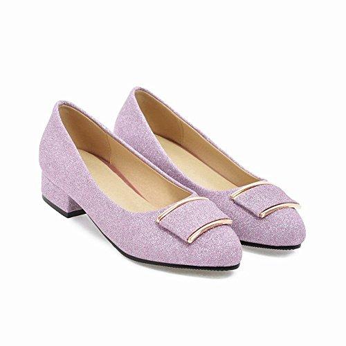 Charm Foot Womens Comfort Pointed Toe Low Heel Pumps Shoes Purple VFz6W5