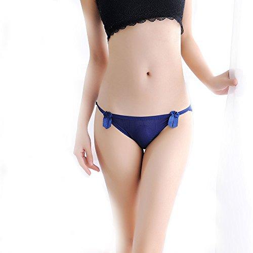 Meiye Encaje ultra-delgado de seda de hielo con Bowknot tanga Lady baja cintura tentación T-Back Bragas Azul