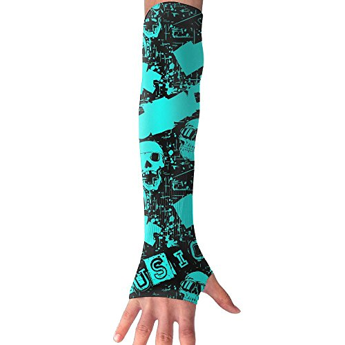 Unisex Blue Skull Rocker Arm Sleeves UV Sun Protective Warm Tattoo Arm Gloves Outdoor Activities Skin Protection Long Sleeve Perfect For Cycling Running