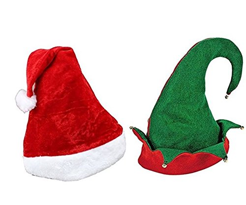 Funny Christmas Hats. This Winter Theme Red Plush Santa Claus & Green Elf's Hats Set Of 2 For Teens & Adults. Best Costume Accessory Ideas For X-mas Holiday Style & Fun Party At Home, Office & (Home Costumes Ideas)