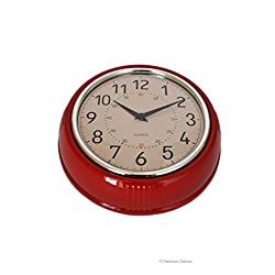 Small Retro 1950's-Style Quartz Red Designer Kitchen Wall Clock Diner Decor