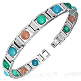 My Daily Styles Stainless Steel Silver-Tone Multicolor Glass Beads Link Unisex Bracelet