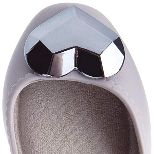 Heart Womens Ballerinas Metallic Grey Flats Zaxy Shoes Start qIwEA7nH