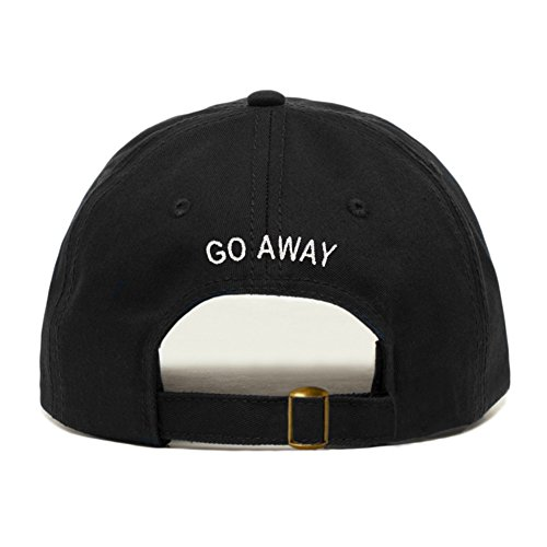 Go Away Hat, Embroidered Baseball Cap, 100% Cotton, Unstructured Low Profile, Adjustable Strap Back, 6 Panel, One Size Fits Most (Multiple Colors) (Black) ()