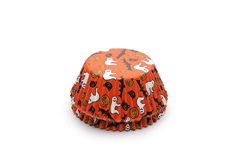 Fox Run Halloween Disposable Bake Cups, 3 x 3 x 1.25 inches, Orange