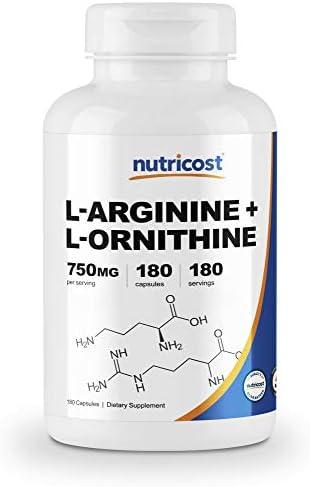 Nutricost L-Arginine L-Ornithine 750mg 180 Capsules