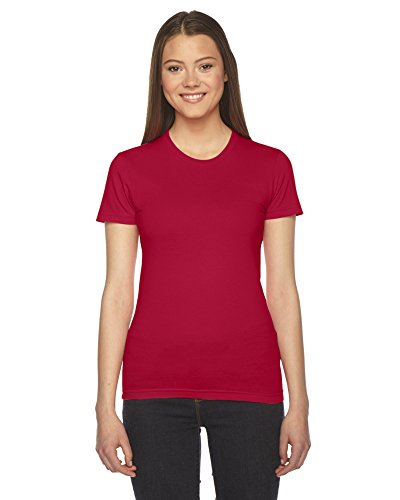 Tee Femmes Rouge Manches À Jersey Courtes Apparel American Fine q081YxIw0