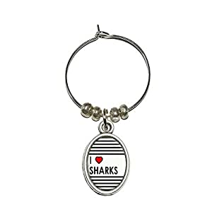 I Love Heart Sharks Wine Glass Oval Charm Drink Marker