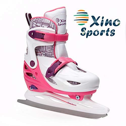 Premium Adjustable Ice Skates for Boys and Girls, Two Awesome Colors - Blue and Pink, Padding and Reinforced Ankle Support, Fun to Skate! (Pink, Small)