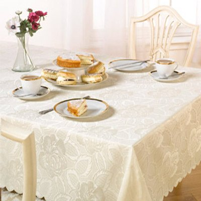 Emma Barclay Damask Rose Tablecloth, Cream, 60 x 84 Inch