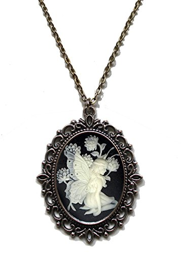 Victorian Vault Fairy Cameo Steampunk Gothic Pendant Necklace on Chain (Goth Cheshire Cat Costume)