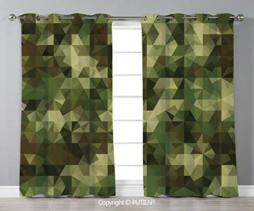 Grommet Blackout Window Curtains Drapes [ Sage,Abstract Military Camouflage Pattern with Fractal Look Geometric Triangles Shapes Mosaic Decorative,Green ] for Living Room Bedroom Dorm Room Classroom K