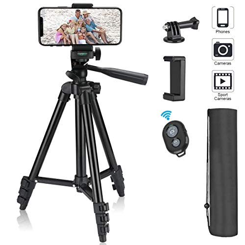 "Phone Tripod, 40"" Extendable Max Load 6.6Lbs Lightweight Aluminum Travel Video Tripod Stand with Cell Phone Mount Holder & 1/4"
