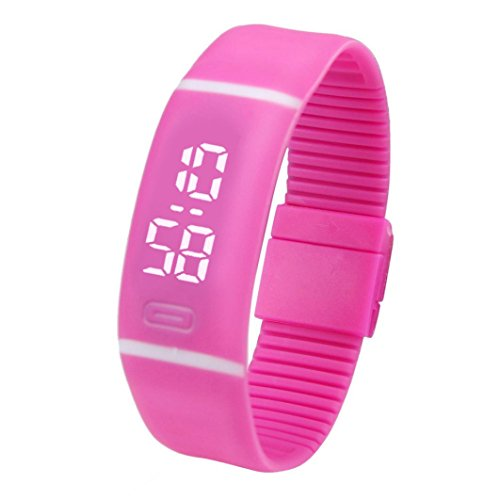 Fitfulvan Elegant Outdoors Watch Mens Womens Rubber LED Watch Date Sports Bracelet Digital Wrist Watch (Hot Pink) Review