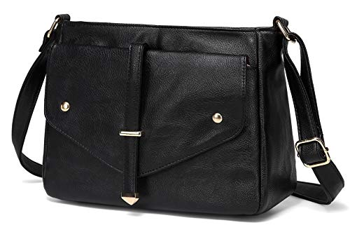Purse Shoulder Women Leather Bag Bags Vegan VASCHY Crossbody Black for Handbag Fashion qAzwfq8