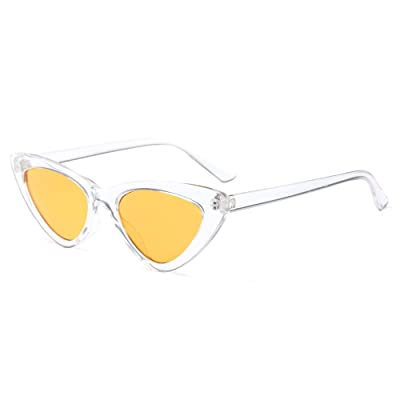 9908ed6a7192b5 Fuyingda Femmes Triangle Vintage Lunettes à verres Dames Rétro Mode lunettes  de soleil , Blanc