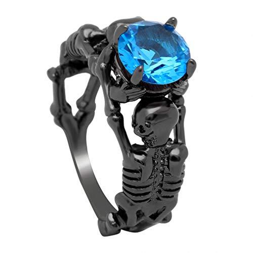 - Giwotu Womens Mens Ghost Evil Skull Skeleton Hand CZ Ring European and American Punk Style Men Ring New Skull Men's Jewelry Sky Blue 8