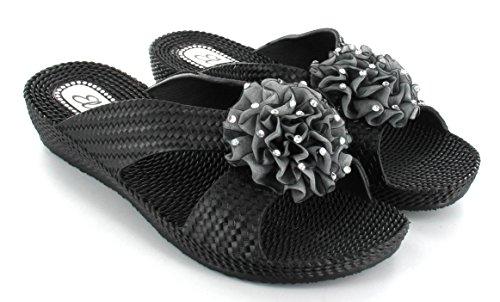 Womens Ladies flor Mules soporte de verano sandalias Ella Nicky negro