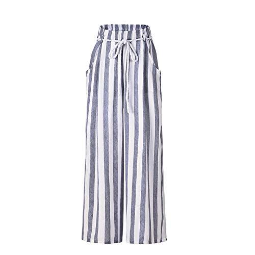 Joe La nuova cintura a righe da donna a vita alta sottile sottile pantaloni diritti femminili White