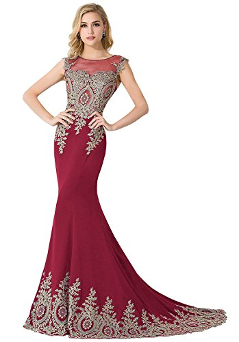 MisShow Women Embroidery Lace Long Burgundy Mermaid Formal Evening Prom Dress