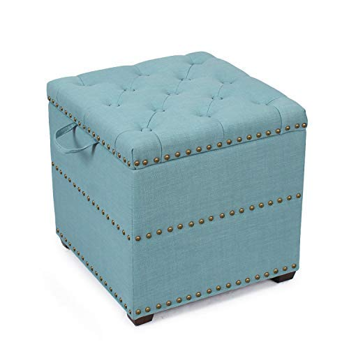 ELEGAN Fabric Square Storage Ottoman with Tray (Blue)