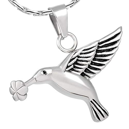 - constantlife Hummingbird Keepsake Jewelry Stainless Steel Pet Urn Necklace for Ashes Charms Pendant