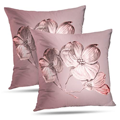 Darkchocl Set of 2 Daily Decoration Throw Pillow Covers Mauve Dogwood Blossom Square Pillowcase Cushion for Couch Sofa or Bed Modern Quality Design Cotton and Polyester 18