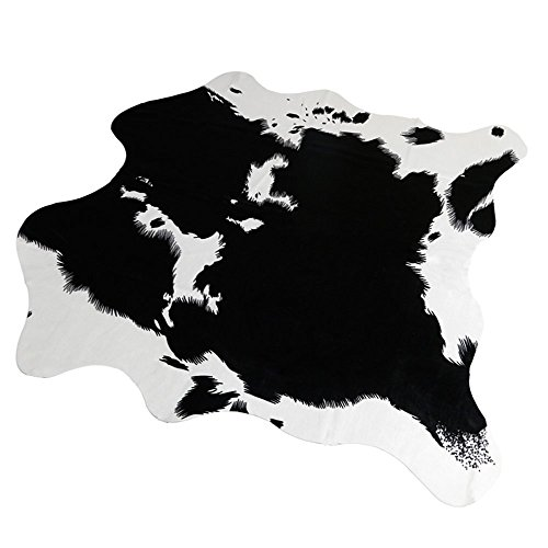 MustHome Cute Cow Print Rug 5.2x4.6 Feet Black and white Faux Cowhide Rugs Animal Printed Area Rug Carpet For Home