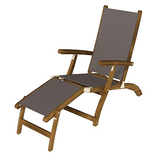(Royal Teak Collection STSLG Teak Lounging Steamer Sling Chair, Gray)