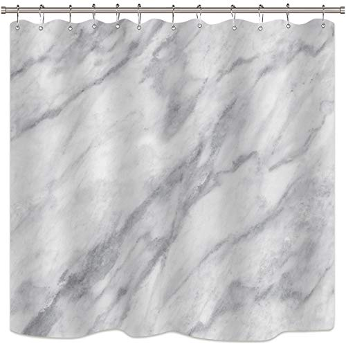 Cdcurtain Gray And Blue Marble Shower Curtain Panel Background White Crack Onyx Stone Textured Natural Featured Authentic Decor Fabric Set Polyester Waterproof 72x72 Inch Plastic Hooks 12-Pack