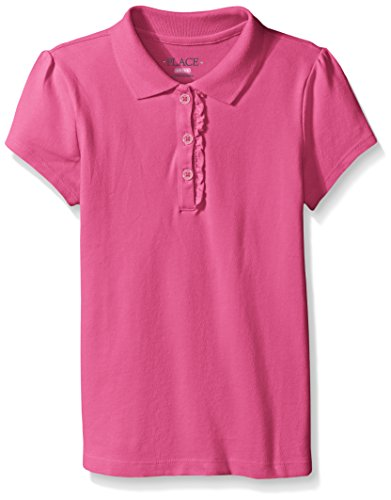 The Children's Place Big Girls Short Sleeve Ruffle Polo Shirt, Aurora Pink
