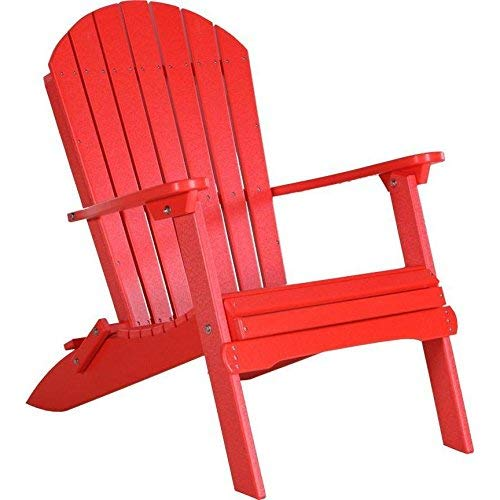 LuxCraft PolyTuf Folding Adirondack Chair Red ()
