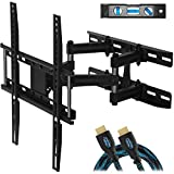 Cheetah Mounts Dual Articulating Arm TV Wall Mount Bracket for 20-65' TVs up to VESA 400 and 115lbs, Mounts on Studs up to 16' and Includes a Twisted Veins 10' HDMI Cable & 6' 3-Axis Magnetic Bubble