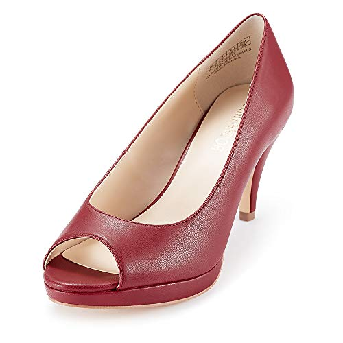 - JENN ARDOR Women's Ladies Classic Mid Heel Round Peep Toe Pumps Dress Party Slip On Sandals Platform Comfort Heels (8, PU Red)