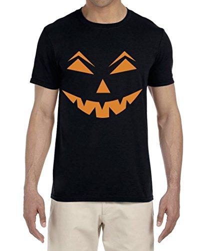 BROOKLYN VERTICAL Jack O Lantern Pumpkin Spooky Face - Unisex Soft Cotton T Shirt Printed Halloween Costume (Black, XXX-Large) -
