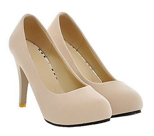 Amoonyfashion Womens Ronde Neus Hoge Hakken Frosted Pull-on Stevige Pumps-schoenen Beige