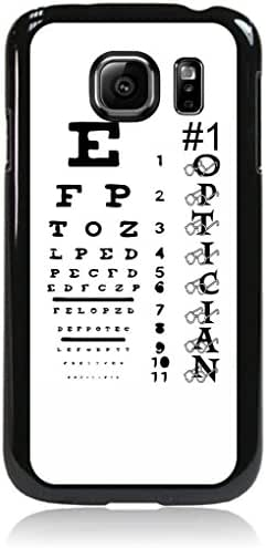 #1 Optician-Eyesight Chart-? TM Protective Black Plastic Phone Case Made in the USA for the Samsung Galaxy s7 EDGE Universal (Not Compatible with the Standard Samsung Galaxy s7)